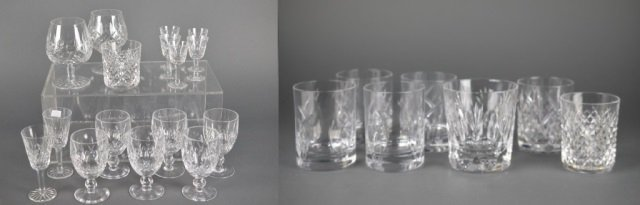 Seven whiskey glasses t/w mainly Lismore glassware