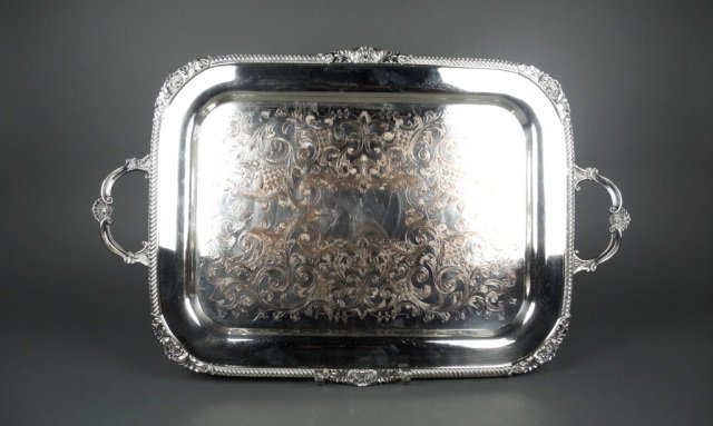 Sheffield reproduction silver plate tea tray