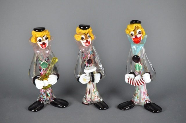 Murano Glass Musical Clowns