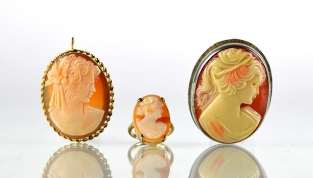 CAMEO RING & TWO CAMEO BROOCH/PENDANTS