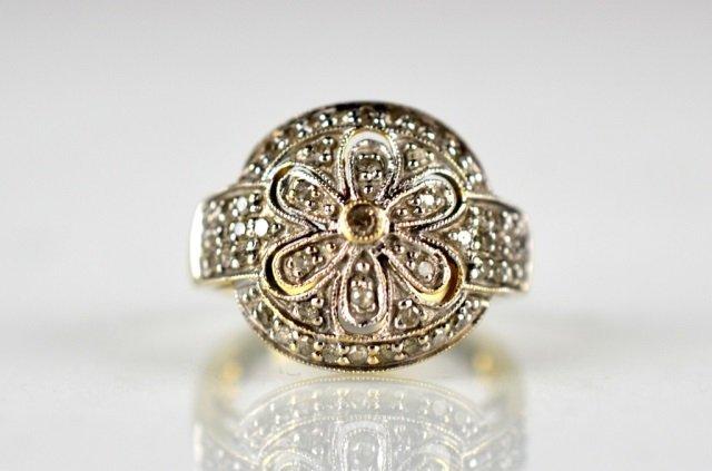 14K GOLD CLUSTER DIAMOND RING