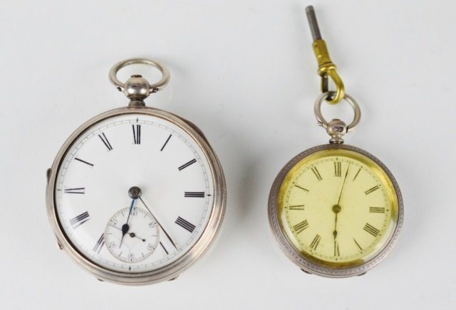 TWO VICTORIAN SILVER CASED POCKET WATCHES