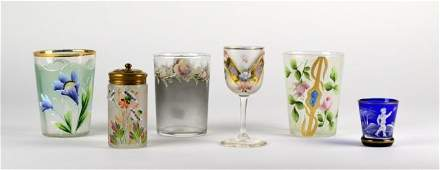 SIX PIECES OF ENAMELED AND HAND PAINTED GLASS