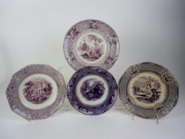 FOUR MULBERRY 19TH C. TRANSFERWARE PLATES