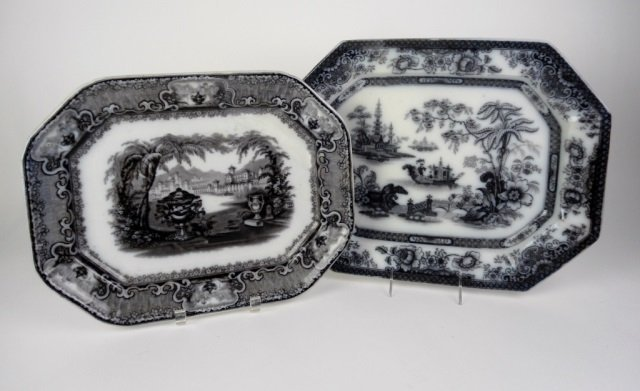TWO 19TH C. MULBERRY PLATTERS