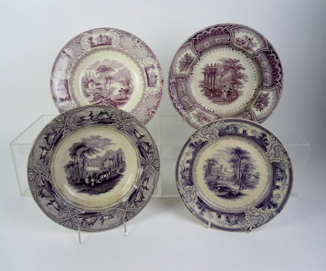 FOUR PIECES OF MULBERRY 19TH C. TRANSFERWARE