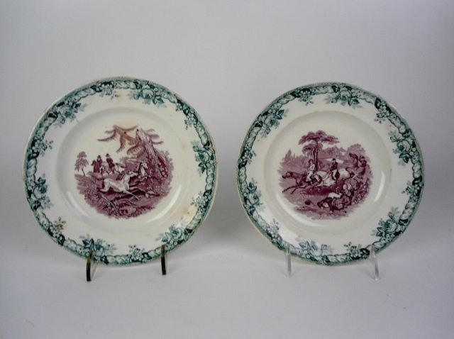 TWO 19TH C. TWO COLOURED TRANSFERWARE PLATES