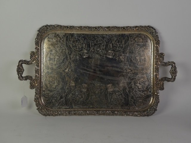 ENGLISH SILVER PLATE SERVING TRAY