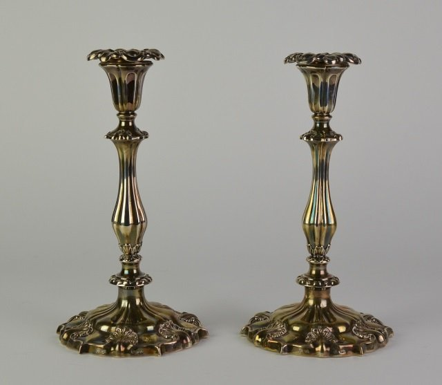 PAIR OF TALL VICTORIAN SILVER CANDLESTICKS