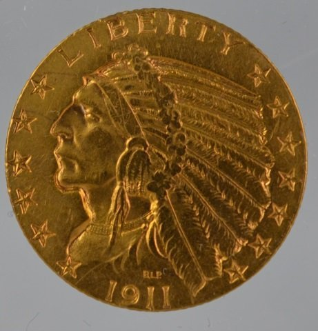 1911S U.S. INDIAN $5 GOLD COIN