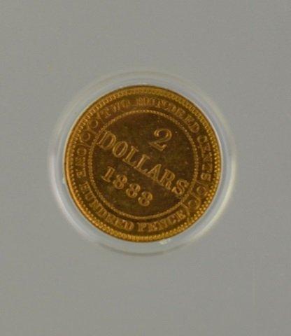 1888 NEWFOUNDLAND $2 GOLD COIN - 2