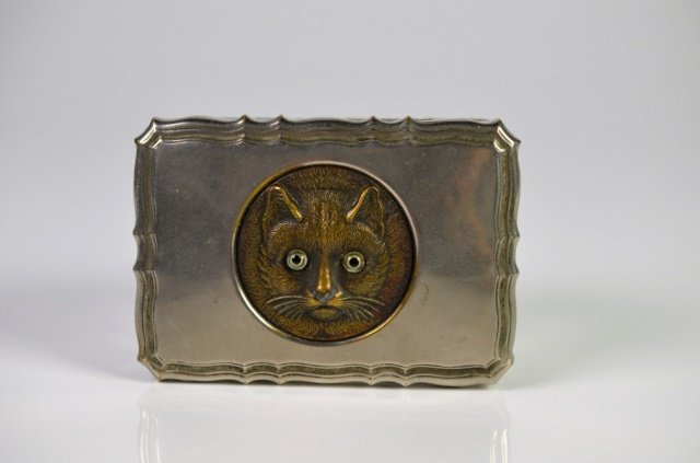 EARLY 20TH CENTURY GLASS & SILVER PLATE CAT BOX