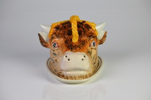 ENGLISH STAFFORDSHIRE FIGURAL CHEESE DOME