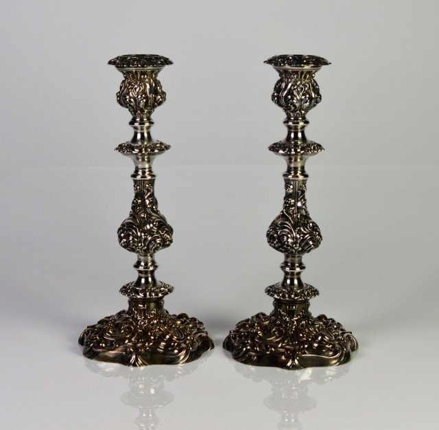 PAIR OF SHEFFIELD SILVER PLATE CANDLESTICKS