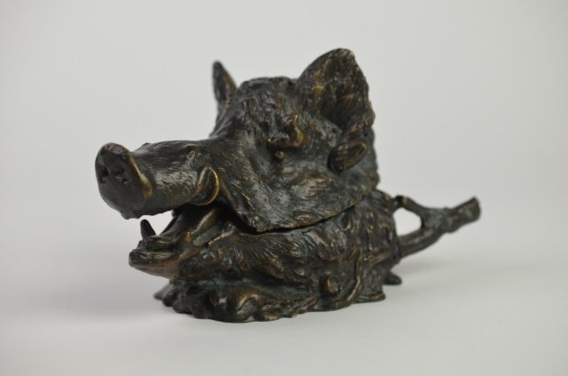 CHRISTOPHE FRATIN BRONZE BOARS HEAD INKWELL