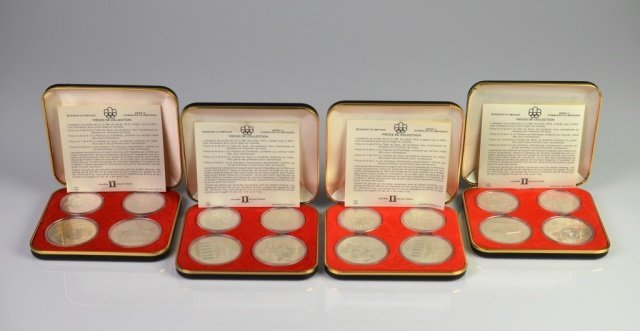 FOUR 1976 CANADIAN OLYMPIC SILVER COIN PROOF SETS