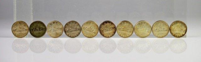 10 CANADIAN SILVER DOLLAR COINS