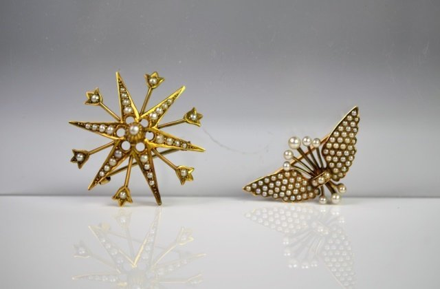 TWO VICTORIAN GOLD BROOCHES WITH SEED PEARLS