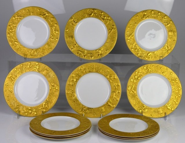 SARASTO MAGIC FLUTE GOLD PORCELAIN PLATES