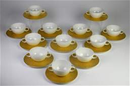 SARASTO MAGIC FLUTE GOLD PORCELAIN CREAM SOUPS