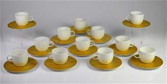 SARASTO MAGIC FLUTE GOLD PORCELAIN CUPS  SAUCERS