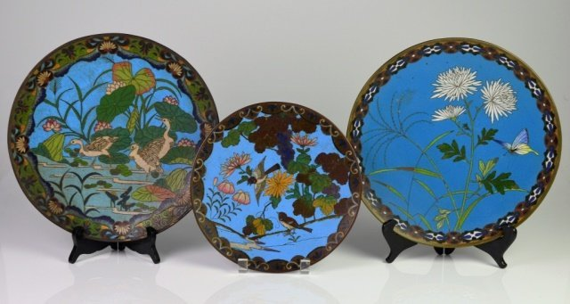 THREE JAPANESE CLOISONNE DISHES