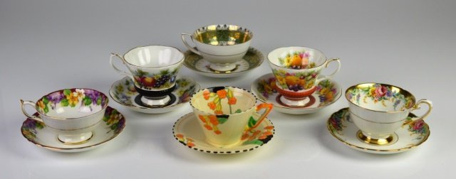 ENGLISH PORCELAIN CUPS AND SAUCERS