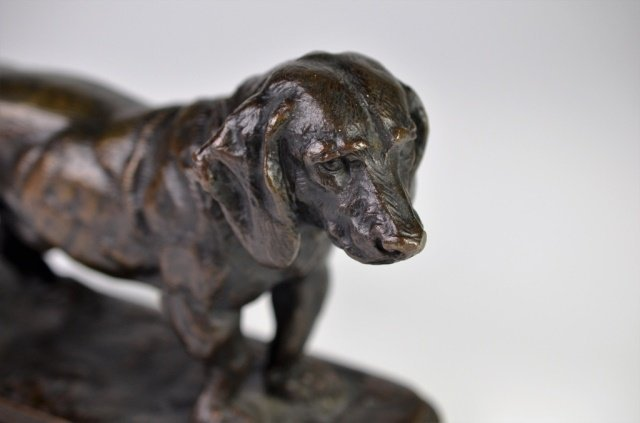 19TH CENTURY FRENCH BRONZE SCULPTURE OF A DOG - 4