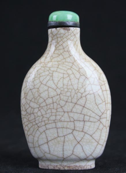 A Rare Chinese Crackled White Glaze Porcelain Snuff