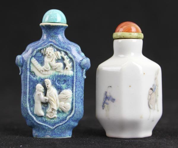 Two Chinese Porcelain Snuff Bottles with Xixiang Ji
