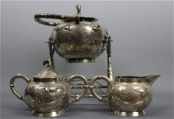 Chinese export sterling silver  teapot set with a