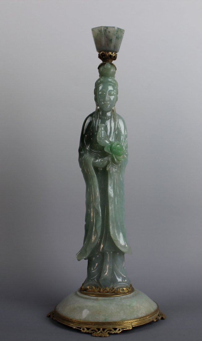 A Rare Magnificent Chinese Jadeite Statue of Goddess of