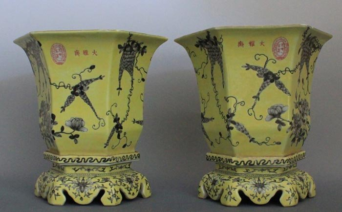 A  pair of extremely rare Chinese imperial yellow
