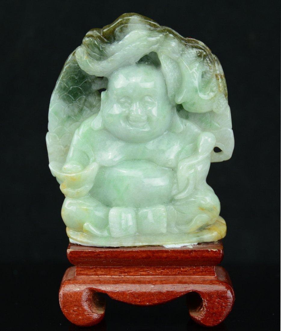A Chinese Jadeite Buddha with Wood Stand