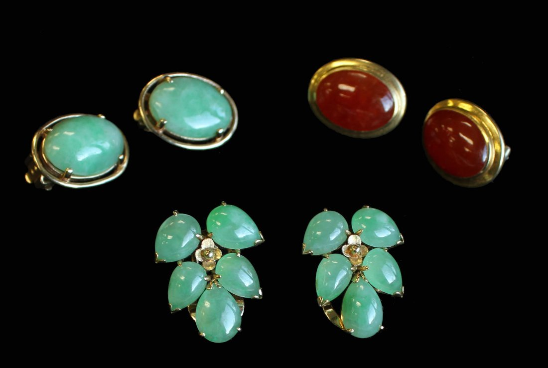 A Collection of Rare Chinese Jadeite and Gold Earrings.