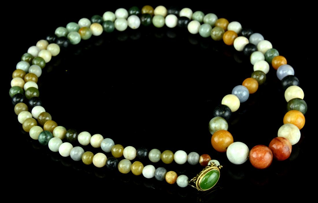 A Chinese Multi-Color Jadeite Beads Necklace, 14K Gold