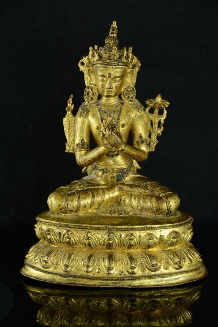Chinese Gilt Bronze Buddha Lotus Stand, 19 Century
