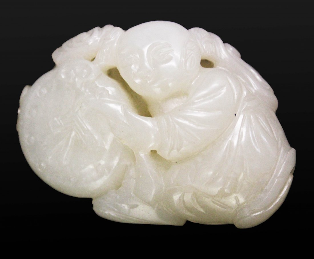CHINESE HETIAN WHITE JADE CARVED, QING DYNASTY