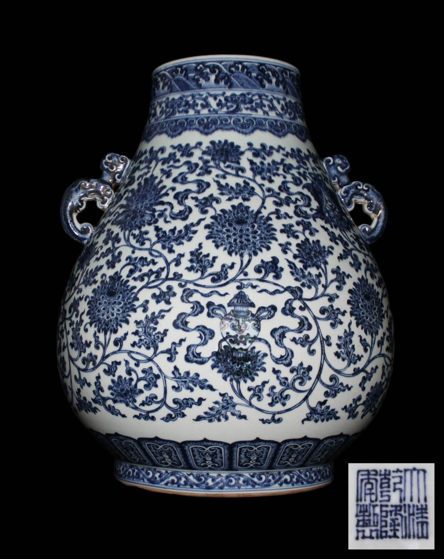 CHINESE MAGNIFICENT IMPERIAL BLUE&WHITE PORCELAIN VASE