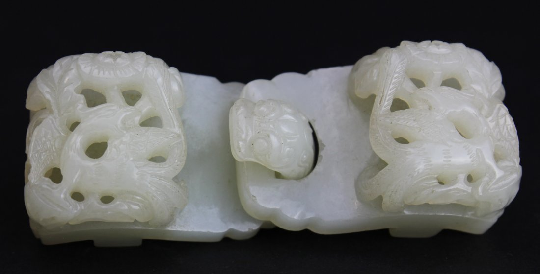 QING DYNASTY, A CHINESE WHITE JADE DRAGON-HOOK