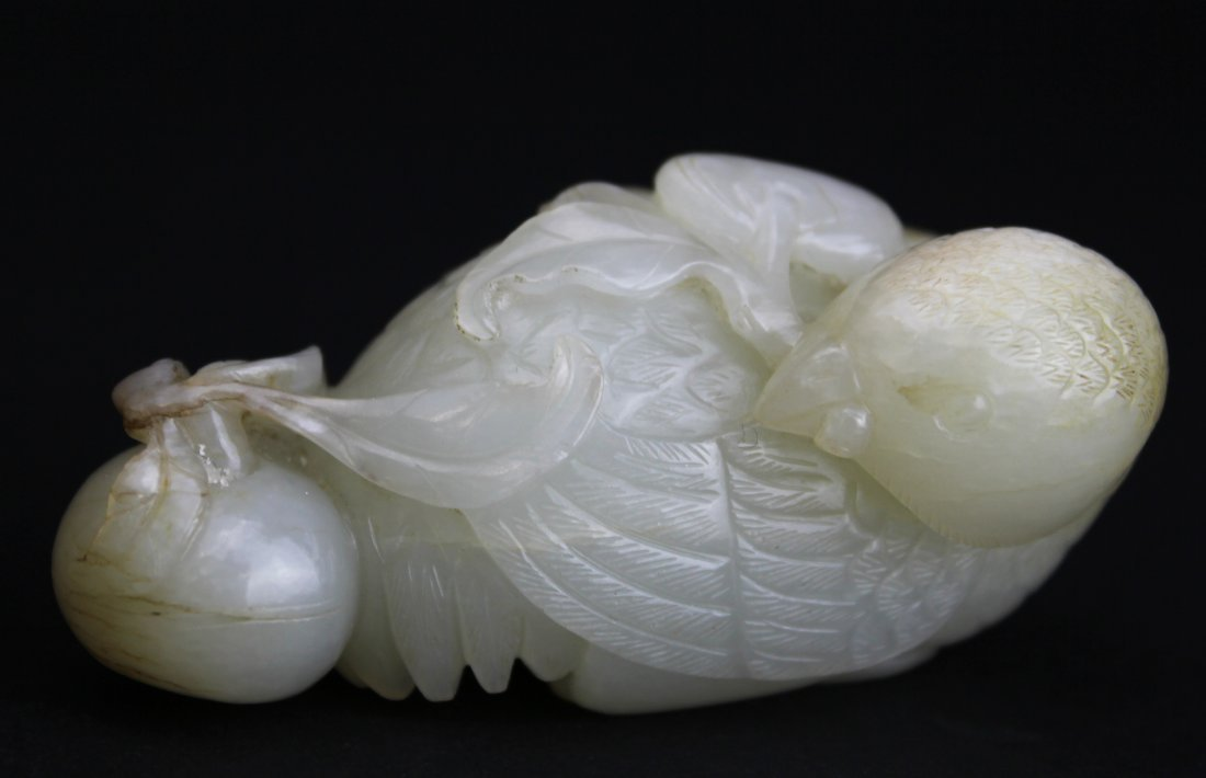 QING DYNASTY, A CHINESE WHITE JADE CARVED QUAIL