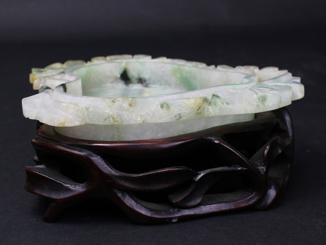 QING DYNASTY, A CHINESE CARVE JADEITE BRUSH WASHER