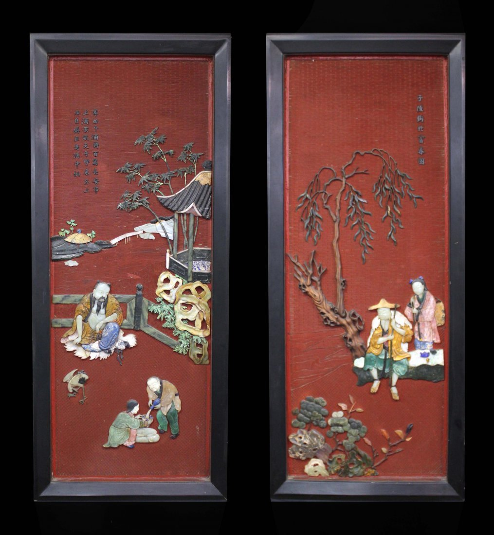 A PAIR OF RARE CHINESE CINNABAR LACQUER PANELS WITH