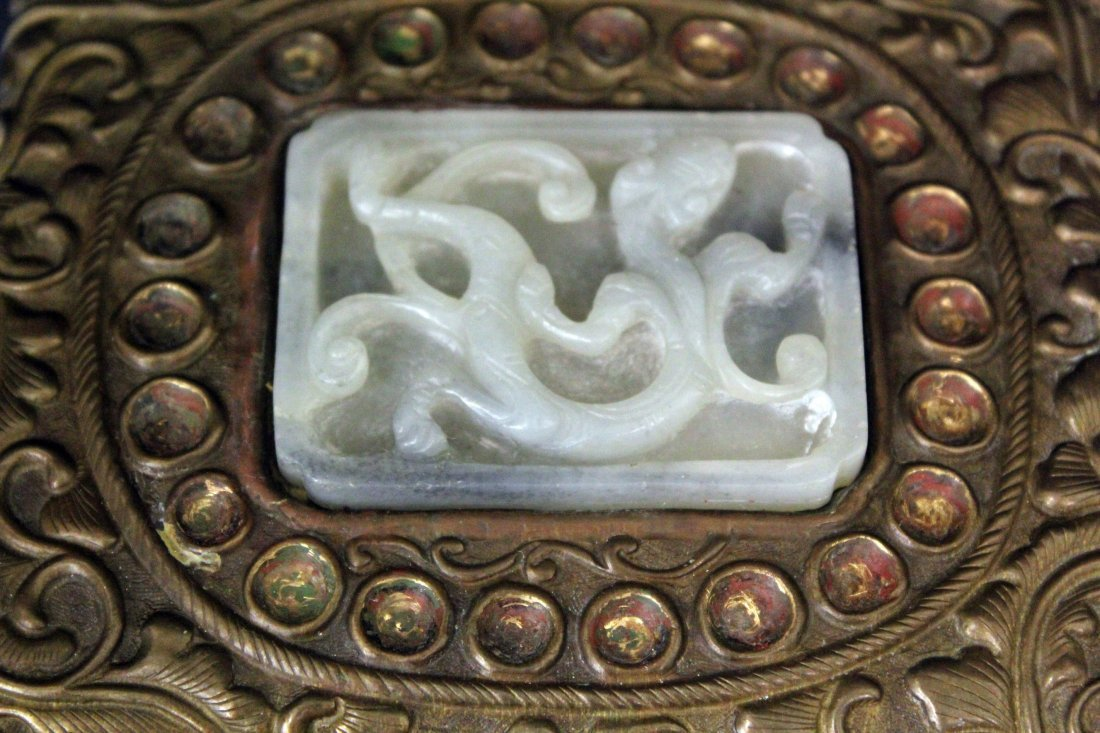 A CHINESE COPPER WITH WHITE JADE JEWLERY BOX
