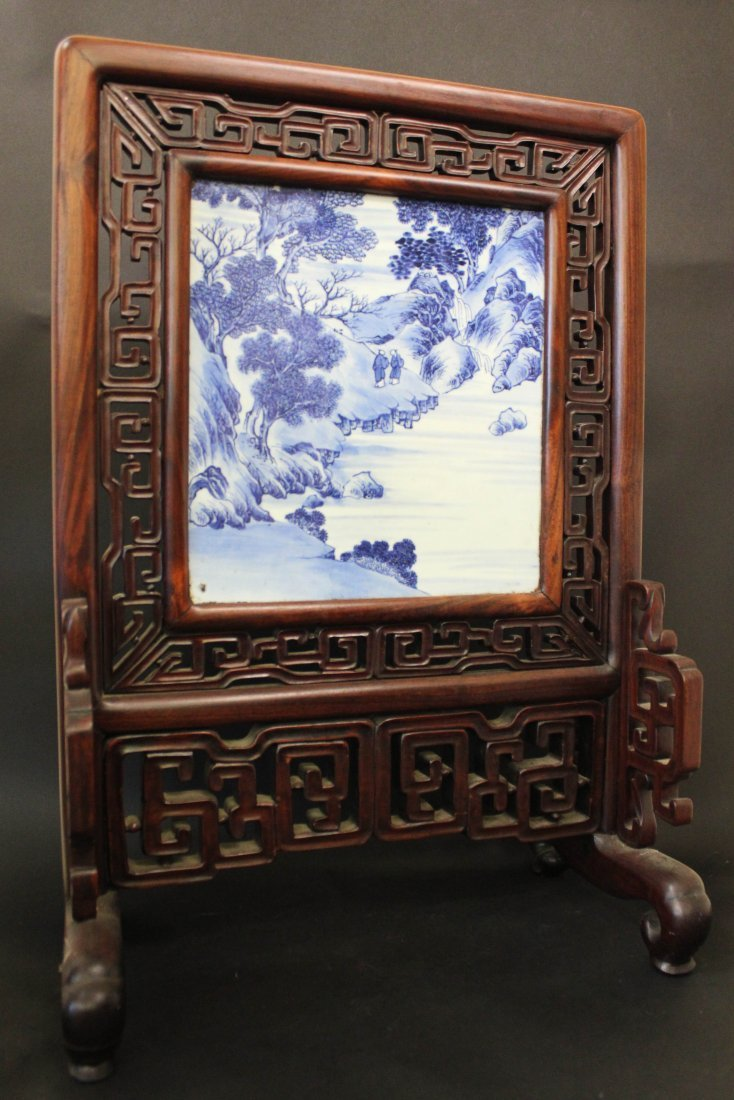 18/19TH C.,CHINESE BLUE&WHITE PORCELAIN TABLE SCREEN