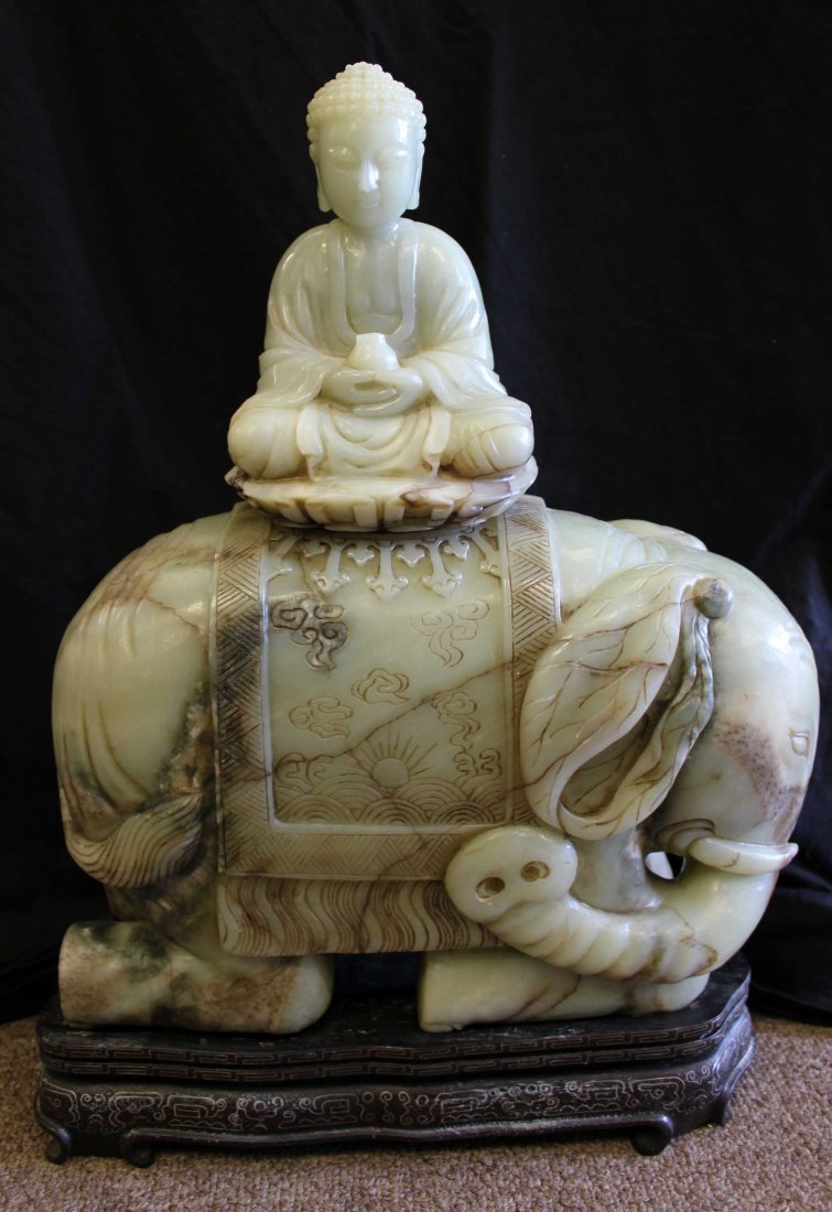 QING DYNASTY, A CARVED LARGE REAL  NATURAL JADE BUDDHA