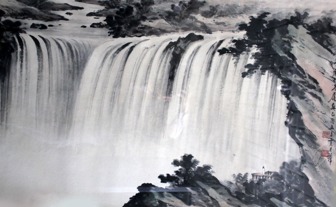 A LARGE CHINESE INK AND COLOR PAINTING ON PAPER BY WANG