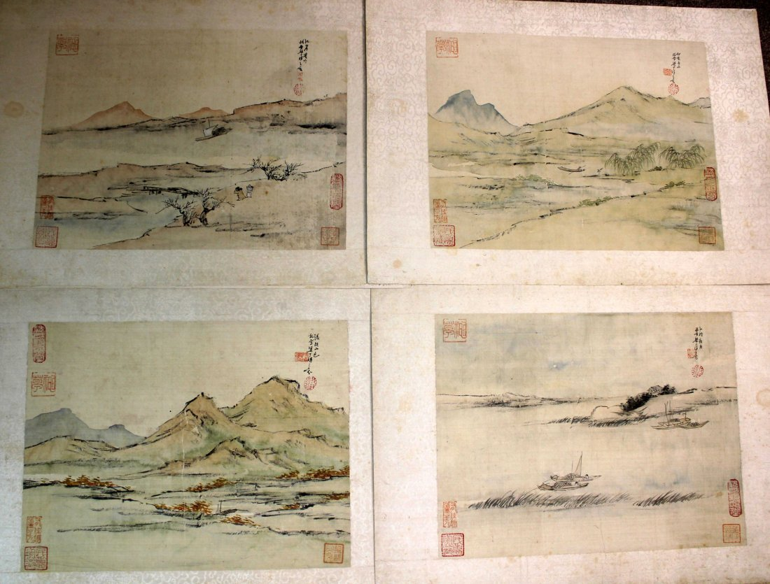 4 PIECES OF CHINESE INK AND COLOR PAINTING ALUMB ON
