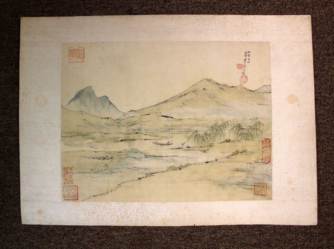 4 PIECES OF CHINESE INK AND COLOR PAINTING ALUMB ON - 2