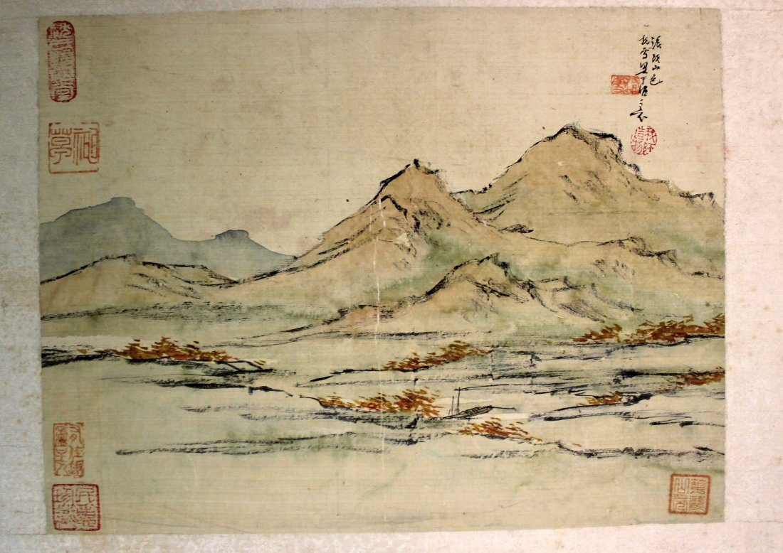 4 PIECES OF CHINESE INK AND COLOR PAINTING ALUMB ON - 4